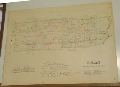 ORIGINAL CALN TOWNSHIP CHESTER COUNTY PA. 1883 colored MAP,OWNRS,RAILROAD,CREEK