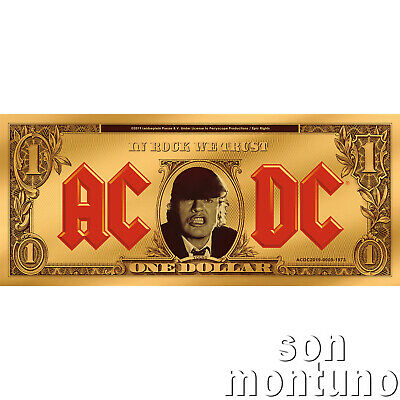 AC/DC ANGUS BUCK - Official 1/10 Gram 24k Gold Coin Note - 2019 Cook Islands $1