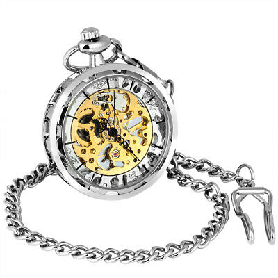 Mens Retro Vintage Mechanical Pocket Watch Antique Skeleton Wind Up Silver Gifts