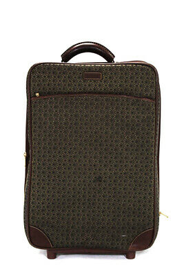 Hartmann Womens Diamond Jacquard Carry On Rolling Luggage Green Brown Canvas