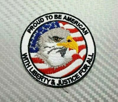 """PROUD TO BE AN AMERICAN 4/"""" x 2/"""" iron on patch 1212 Biker vest B55"""