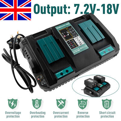 Fast Rapid For Makita DC18RD Li-ion LXT 7.2v-18v Dual Twin Port Battery Charger
