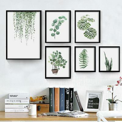 Green Leaf Canvas Oil Painting Art Picture Printing Poster Wall Decor No Frame