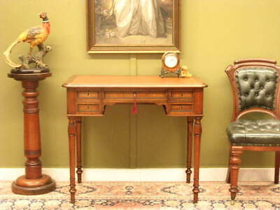 PETITE ANTIQUE / VINTAGE FRENCH WALNUT + LEATHER 5 DRAWER WRITING DESK   c1930s