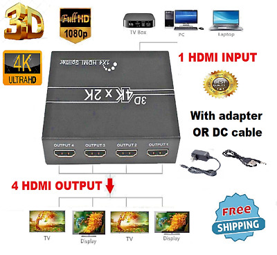 Hdmi Splitter 1 In 4 Out Switch 4K FULL HD Adapter Ampilfier 1X4 Port + CABLE