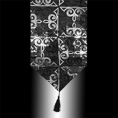 Luxury Shiny Silver Black Sequins Decorative Tassel Table Runner Cloth