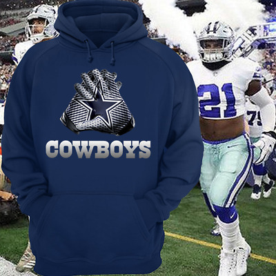 Dallas Cowboys Shirt Hoodie - NFL Gloves Design Shirt - Size S-5XL