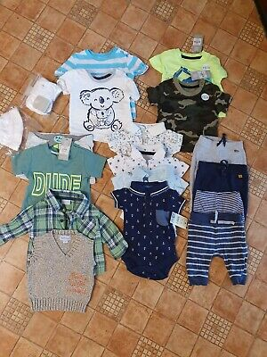 Baby Boys Clothes Bundle some new with tags 0-3 joggers tops shorts shirt