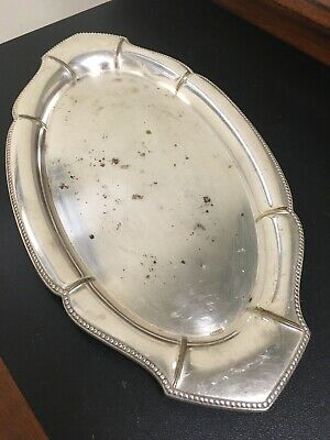 Vintage Wmf Art Deco German Silverplated Oval Plate-10""