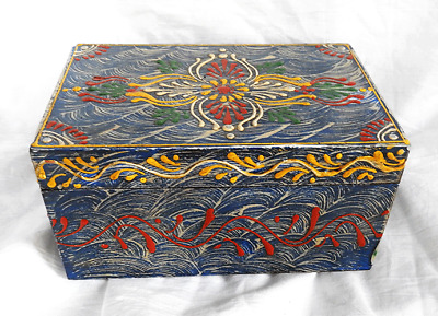 Hand Painted and Lacquered Antique Effect Indian Wooden Box - BNWT ( B )