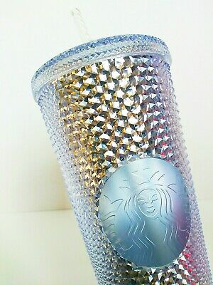 Starbucks Holiday 2019 Venti Studded Tumbler Iridescent Bling Platinum Cold Cup
