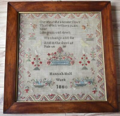 Large Antique Victorian Neddlework Sampler Dated 1860 - Hannah Holt Work