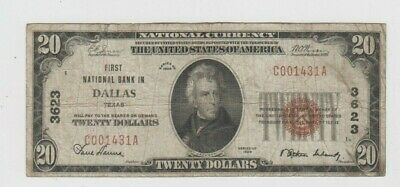 National Banknotes  $20 1929-I   Dallas Texas 3623  vg stains