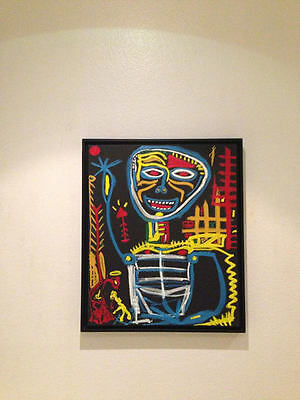 OIL ON CANVAS PAINTING California Art Basquiat Griot Style Neo Expressionism