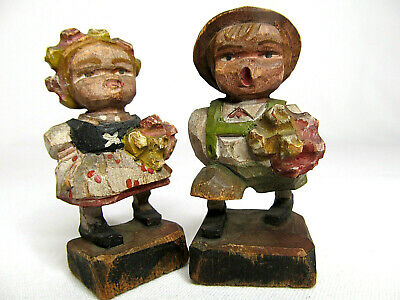 Antique Hand Carved Bavarian Black Forest German Girl & Boy Set Wood Figurines