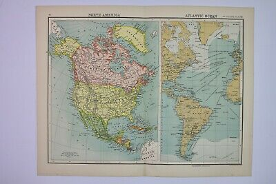 1898 Original Antique Map of North America & The Atlantic Ocean JG Bartholomew