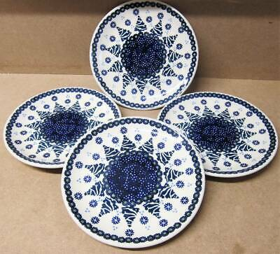 "Boleslawiec Polish Pottery Salad Plate SET of 4 7"" Christmas Fir Tree Snowflake"