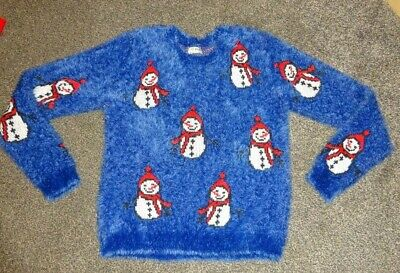 Girls Blue/Multi Fluffy Christmas Jumper Snowmen Age 12 Years Next  Vgc