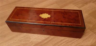 19th Century Victorian Wooden Ladies Glove Box with Red Padded Interior