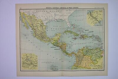 1898 Original Map of Mexico, Central America & West Indies JG Bartholomew