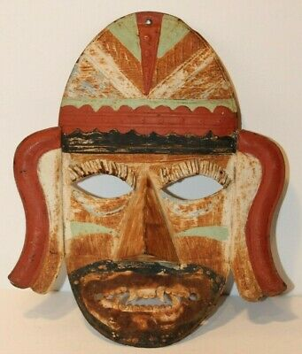 """Vintage Hand Painted Metal - Ancient Style Mask Wall Decor - 12"""" Tall"""