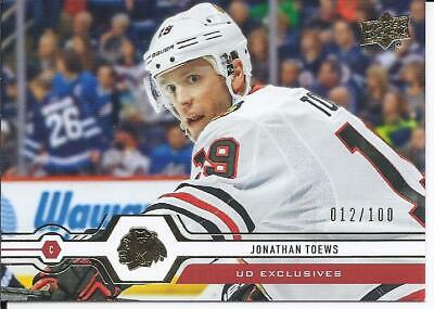 Jonathan Toews 2019-20 Upper Deck Series 1 UD Exclusives Card # 110 012/100