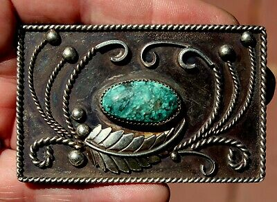 Old Pawn Navajo Solid Sterling Silver & Turquoise Stone Belt Buckle Beautiful!