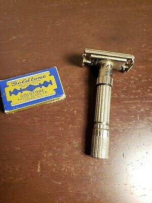 Vintage 1959 E1 Gillette Fatboy Adjustable 1-9 DE Safety Razor! With Blade.