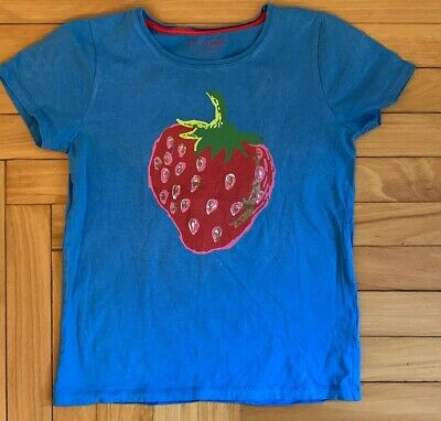Mini Boden Girls Size 11-12 Blue T-Shirt with Strawberry