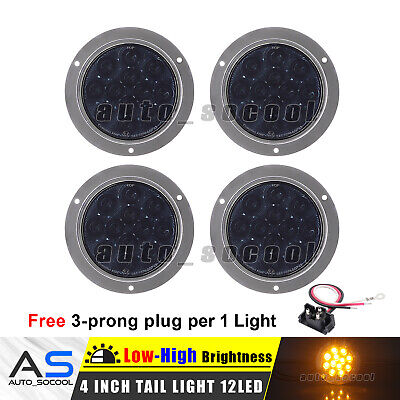 4X 4 Inch Round Surface Mount Smoked / Amber 12 LED Signal Turn Tail Light 12V
