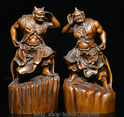 "6.8"" Rare Old China Boxwood Hand Carved Heng Ha Two Buddha Door God Statue Pair"