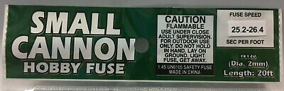 20' Fireworks Small Cannon Hobby Fuse Label 2 mm Green 25.2 - 26.4 sec