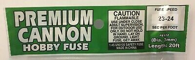 20' Fireworks Premium Cannon Hobby Fuse Label 3 mm Green 23 - 24 sec