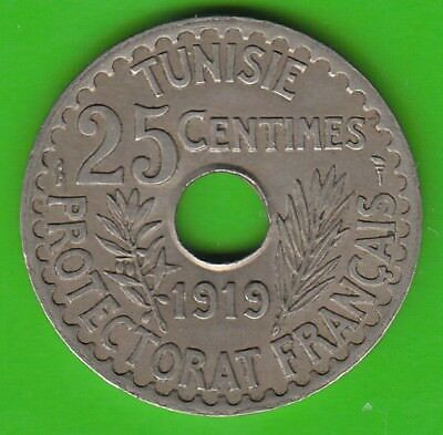Tunisia 25 Centimes 1919 Almost XF Nice Nswleipzig
