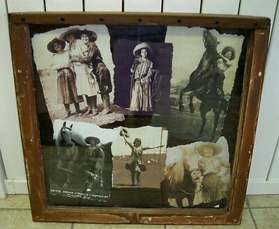 ANTIQUE WINDOW FRAME VINTAGE COWGIRL RODEO PICTURE~Western Horse~Mamie Francis