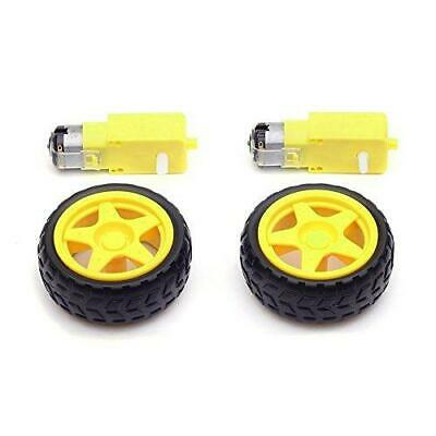 HONBAY 2 Sets Plastic Tire Wheel with Gear Motor Dual Shaft for Smart Car...