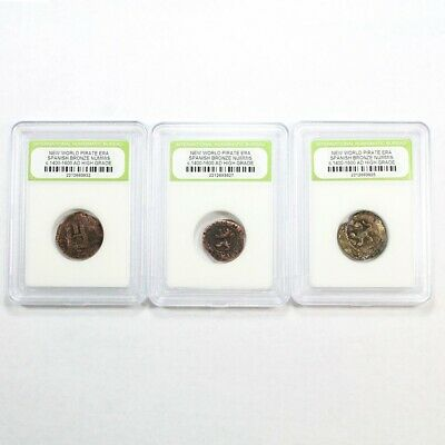 3 Pirate Era - 1600's Early America Spanish Bronze Cobs Exact Lot Shown 3422