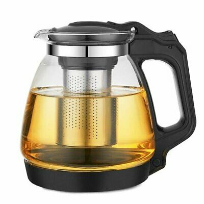 Heat Resistant Glass Teapot With Stainless Steel Strainer 1700ml, Black