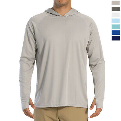 UPF 50+ Mens Sun Protection T-Shirt Quick Drying Long Sleeve Outdoor Tops w/Hood