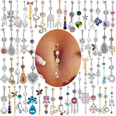GN LX/_ Belly Bars Crystal Dangly Reverse Drop Body Piercing Button Ring Navel N