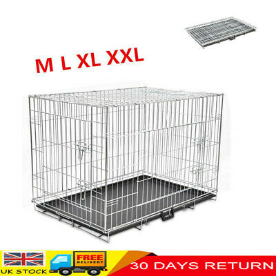 Dog Cage Puppy Pet Puppy Crate Carrier Medium Large M L XL XXL Metal Foldable