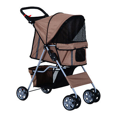 PawHut Pet Stroller Cat Dog Zipper Entry Carrier Cart Cup Holder Brown