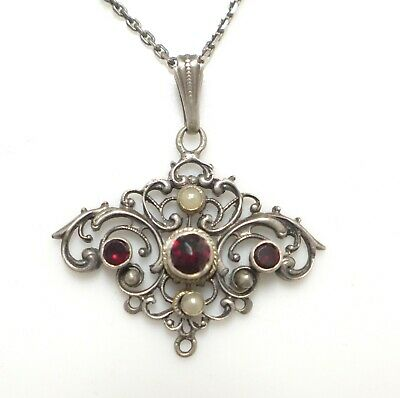 Antique Ornate Art Nouveau Silver Rose Cut Garnet Seed Pearl Pendant Sterling