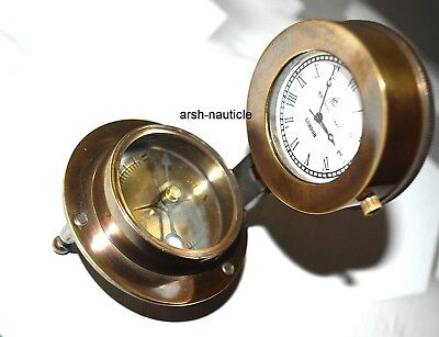 Marine Compass Antique Finish Vintage Collectible Nautical Compass with Clock