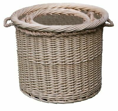 Deluxe Rope Handle Hessian Lined Large Log Basket