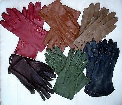 Vintage Job Lot 6 Pairs Ladies Genuine Leather Gloves Assorted Colours & Sizes