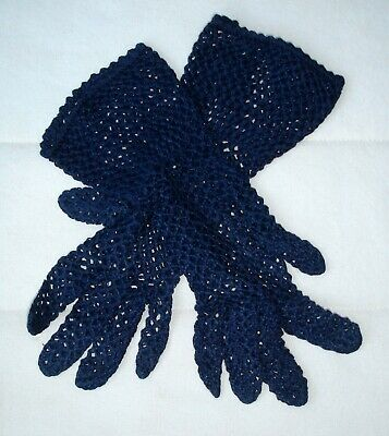 Vintage Pair Ladies French Navy Blue Hand Crocheted Cotton Half Length Gloves