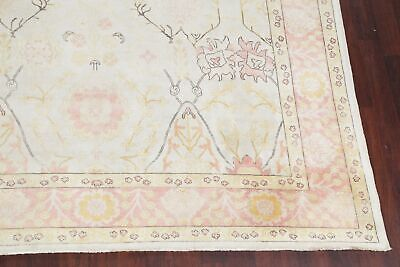 Vegetable Dye Muted Oushak Turkish Area Rug Ivory/Pink Hand-Knotted Wool 9'x12'
