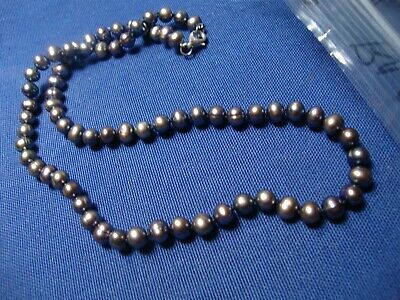 Grandmas Estate 925 Sterling Silver Real Pearls Chunky Necklace