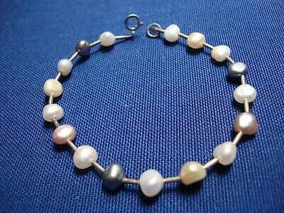 Grandmas Estate 925 Sterling Silver Chunky Real Pearls Bracelet